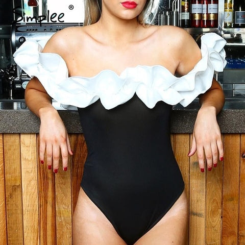 Sexy off Shoulder One Piece Swimsuit
