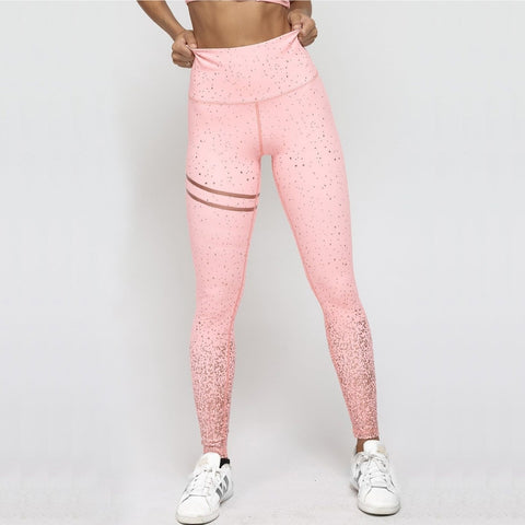 Pink Rosed Gold Print Leggings with High Waist