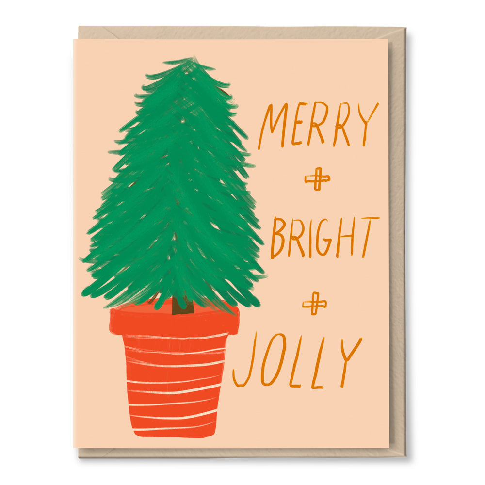 merry bright jolly christmas holiday card by tigerpocket press