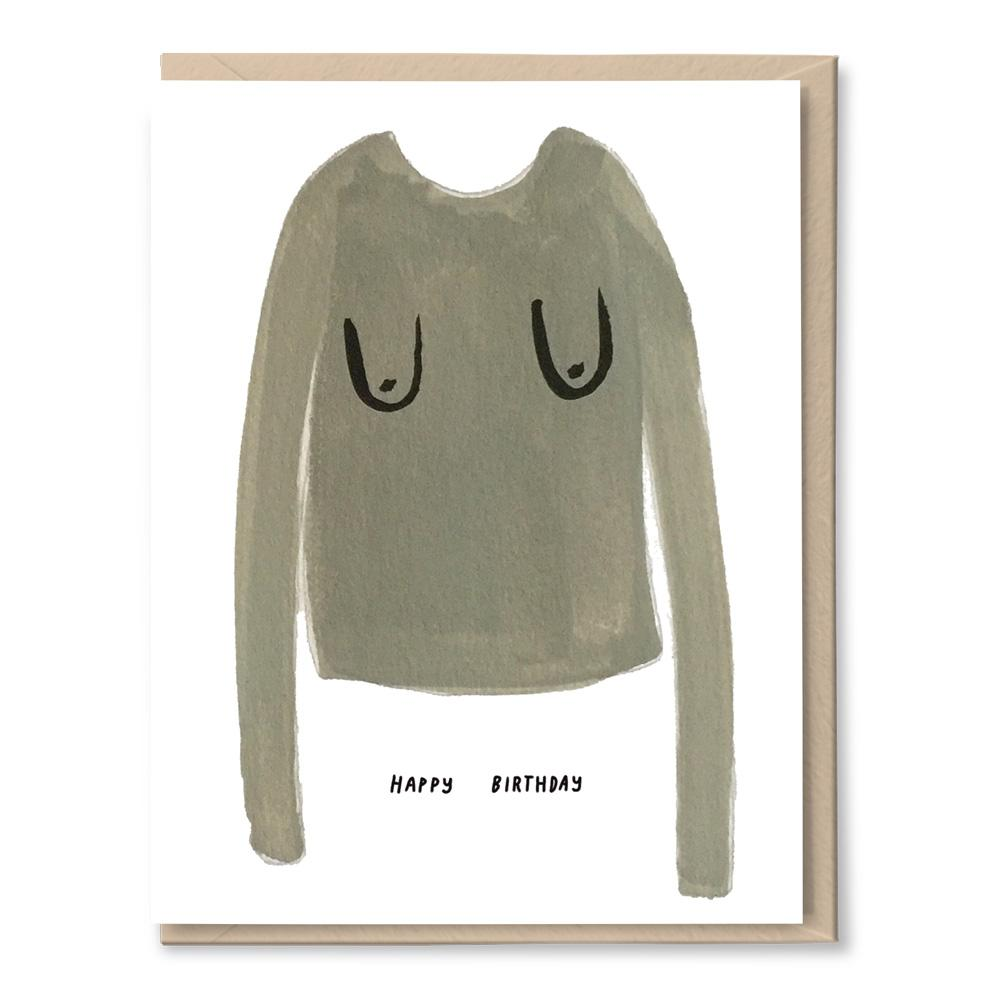 booby sweater birthday card