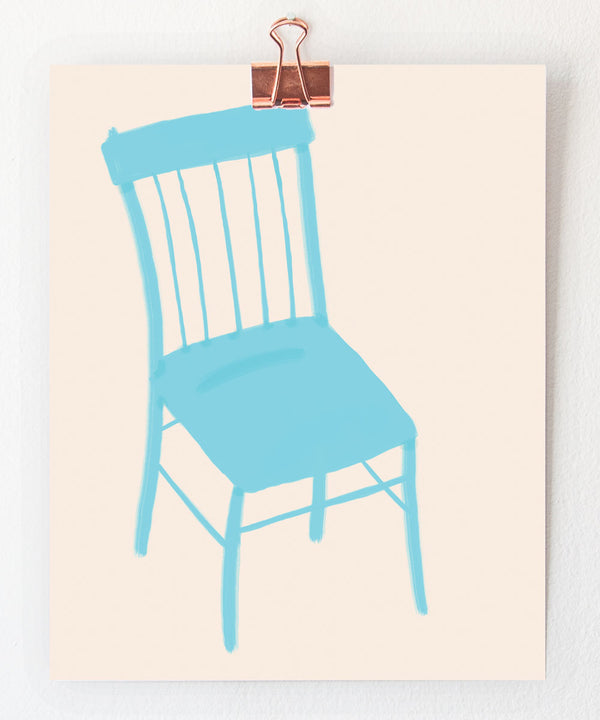 blue chair art print by tigerpocket press