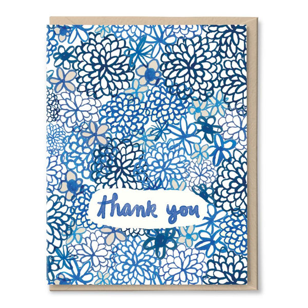 blue flower thanks card