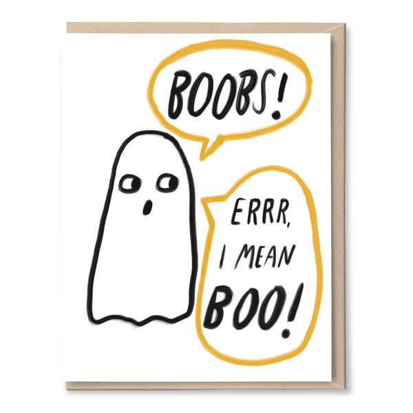 boobs ghost halloween card by tigerpocket press