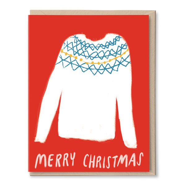 christmas sweater holiday card by tigerpocket press