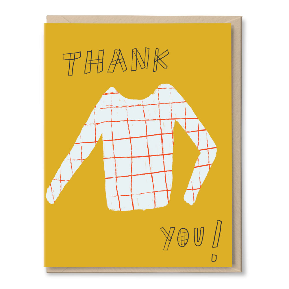 grid sweater thank you card