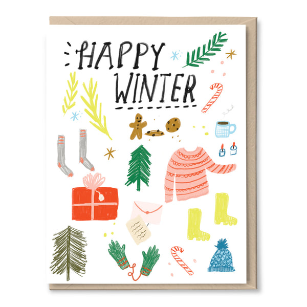 happy winter hand drawn holiday card by tigerpocket press