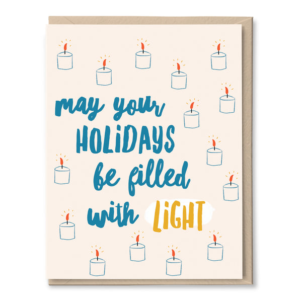 holiday card with candles by tigerpocket press