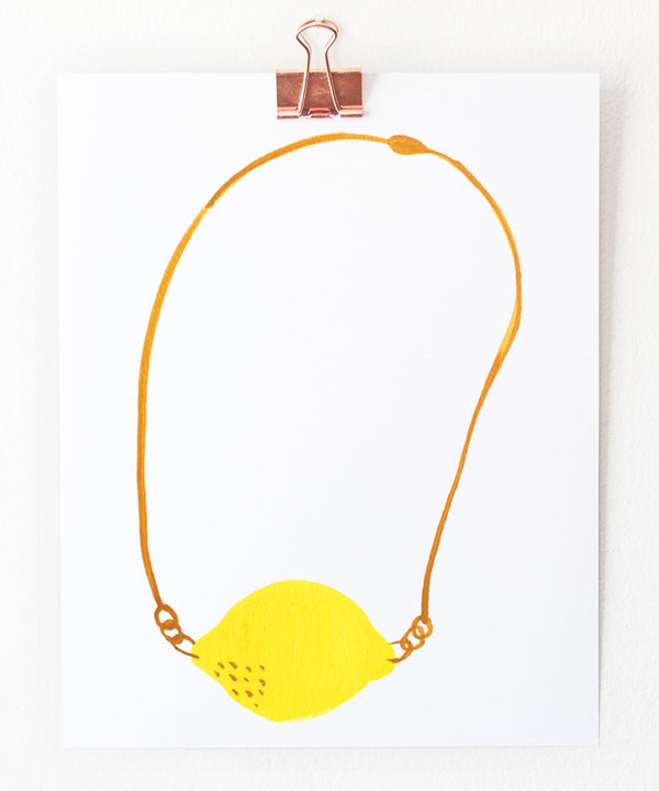 lemon necklace art print by tigerpocket press