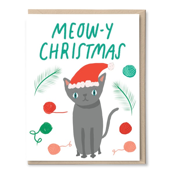 funny christmas card with cat on it by tigerpocket press