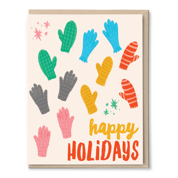 happy holidays cards with snow mittens by tigerpocket press