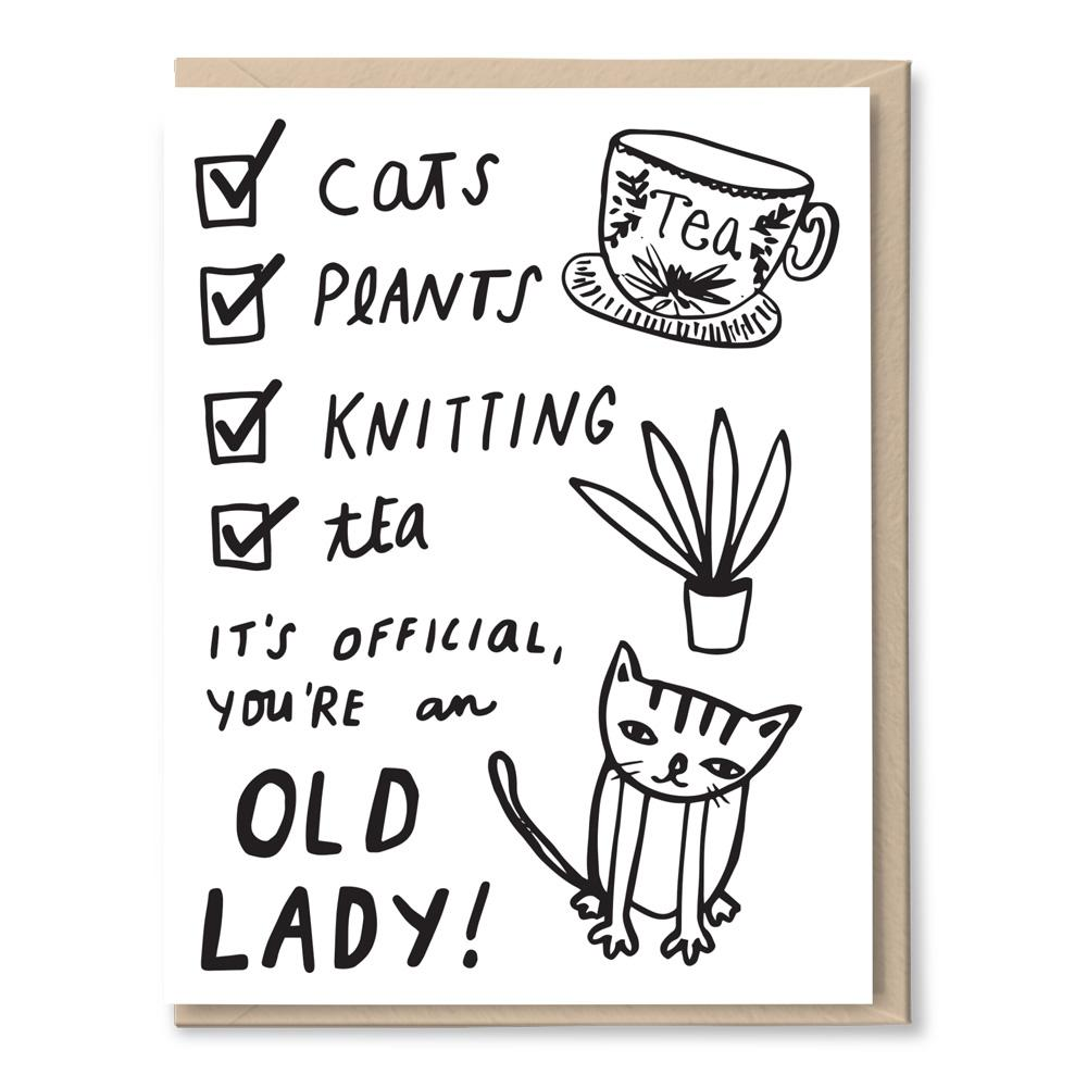 old lady cats and plants card