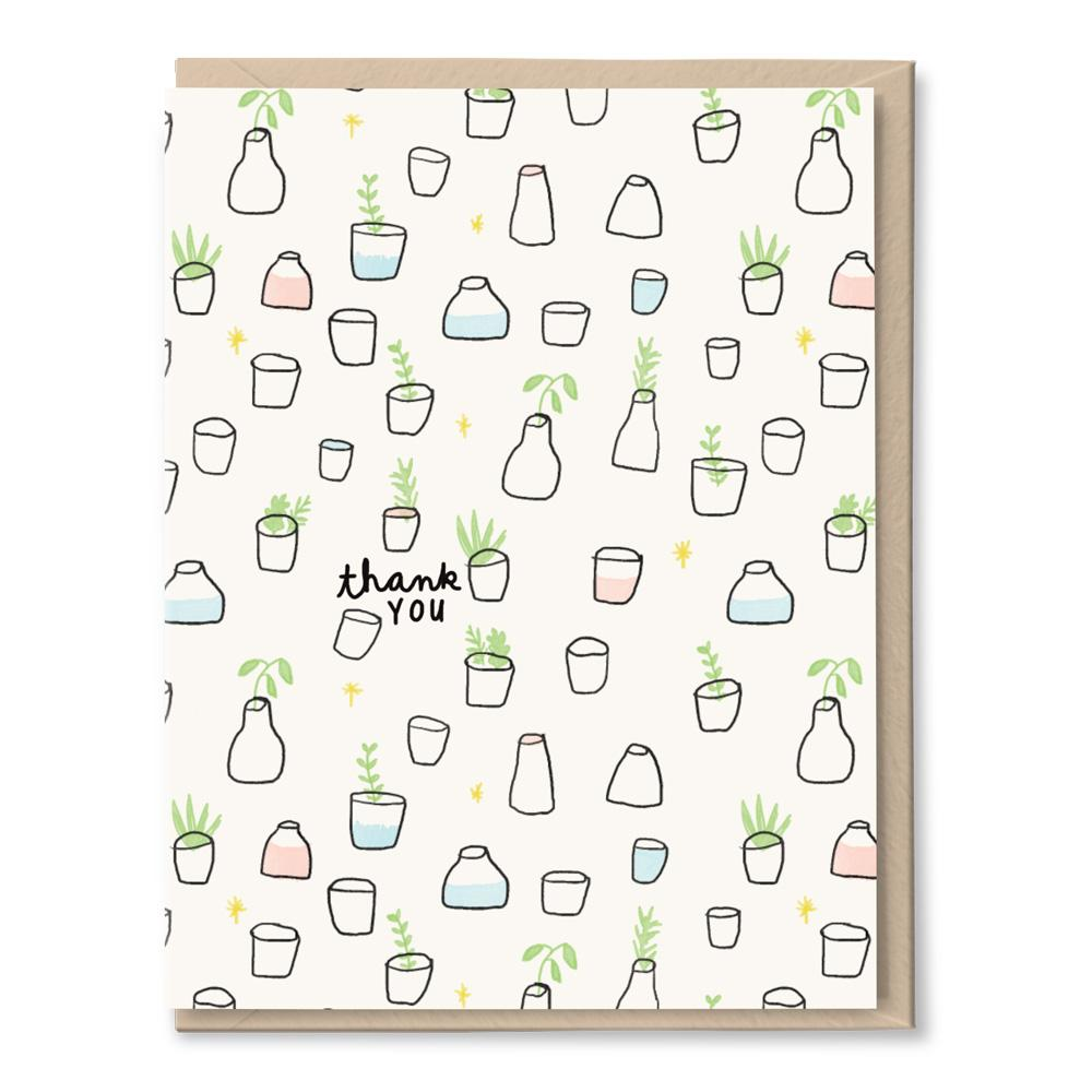 plants in jars thanks card