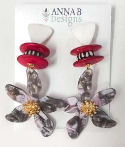 Pua Floral Earrings | Gray & Red