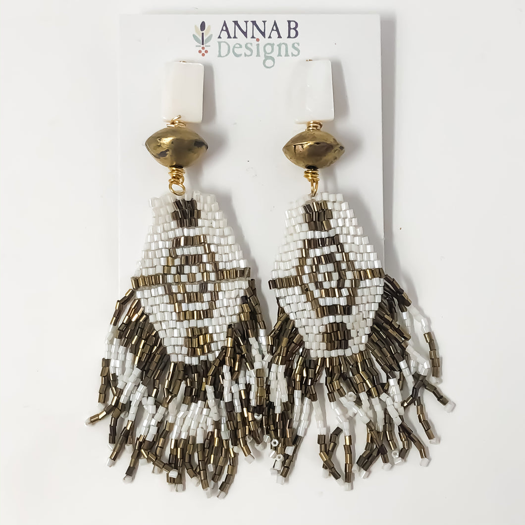 Alex Beaded Earrings | Antique Bronze & White