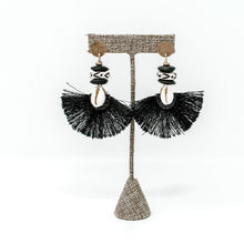Lana Cowrie Earrings- Black
