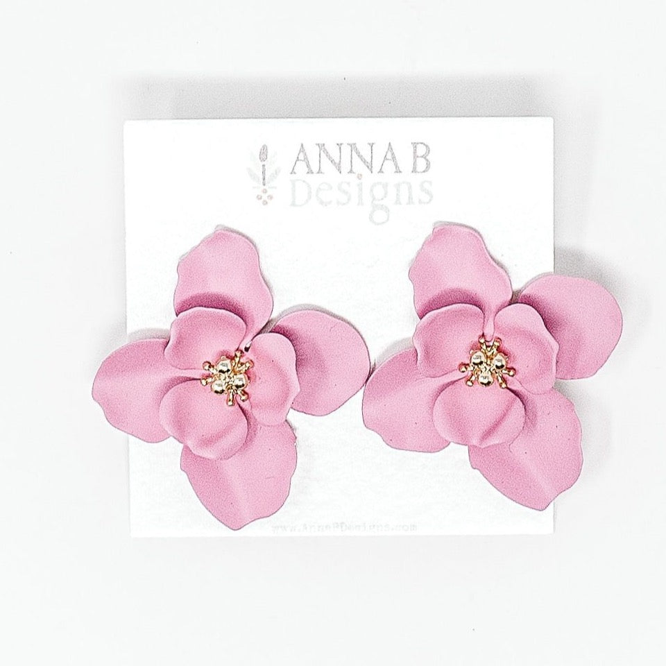 Ziva Floral Stud Earrings | Orchid