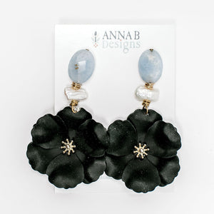 Bloem Floral Earrings | Black