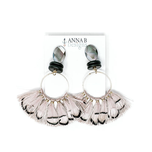Angelina Feather Earrings | Blush