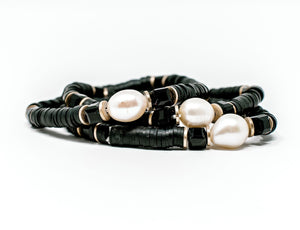 Clay bracelets | Black with Pearl