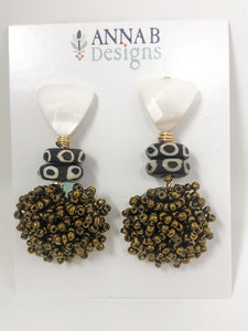Poppy Beaded Earrings | Bronze