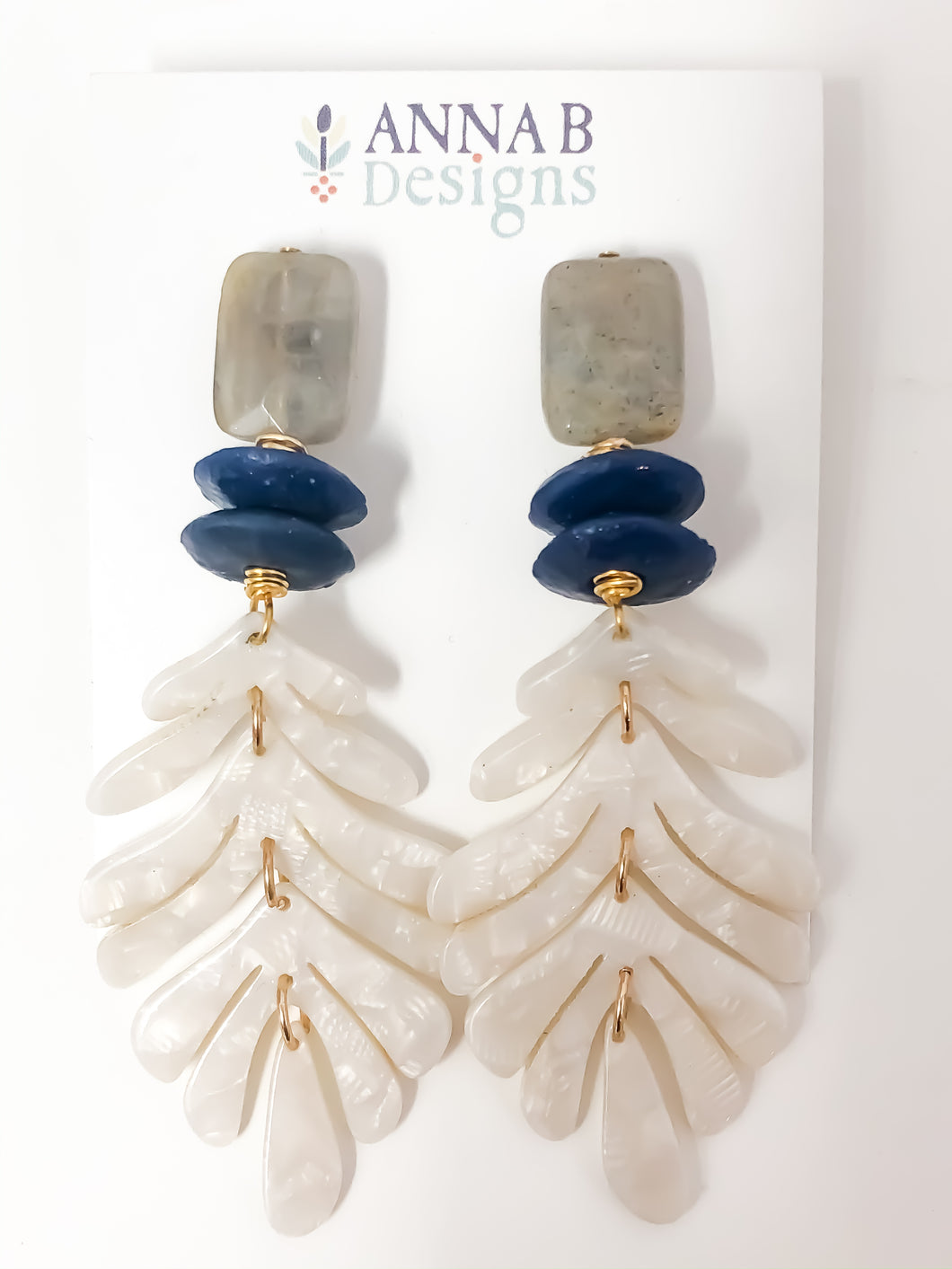 Tamara Acrylic Earrings | Navy and White