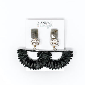 Lila Raffia Fan Earrings | Black & Gray