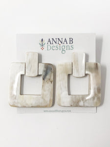 Alina Horn Earrings | Cream and Stone