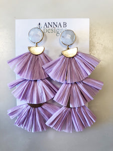 Raffia 3-tier earrings-Lavender