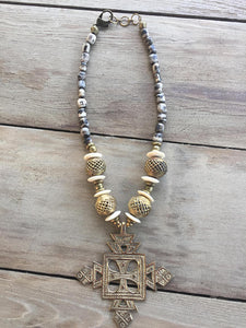 Bone and Brass Beaded Necklace- Gray
