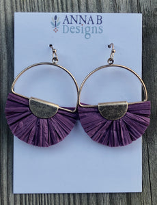 Lyla Raffia Fan Earrings-Plum