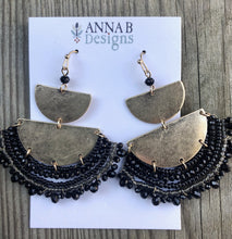 Leah Beaded Fan Earrings | Black
