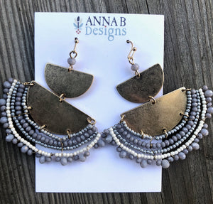 Leah Beaded Fan Earrings-Gray