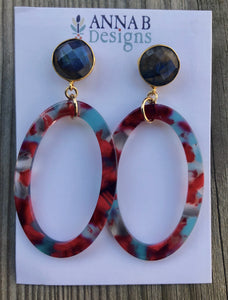 Gracie Resin Earrings-Red and Aqua