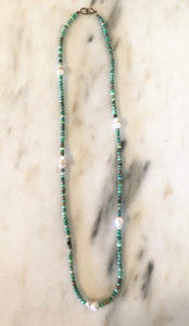 Peruvian Opal + Pearl Necklace