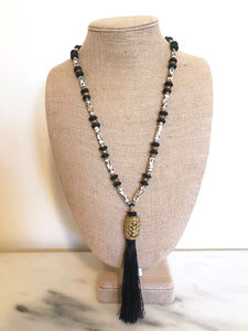 Black and White Tribal Tassel Necklace