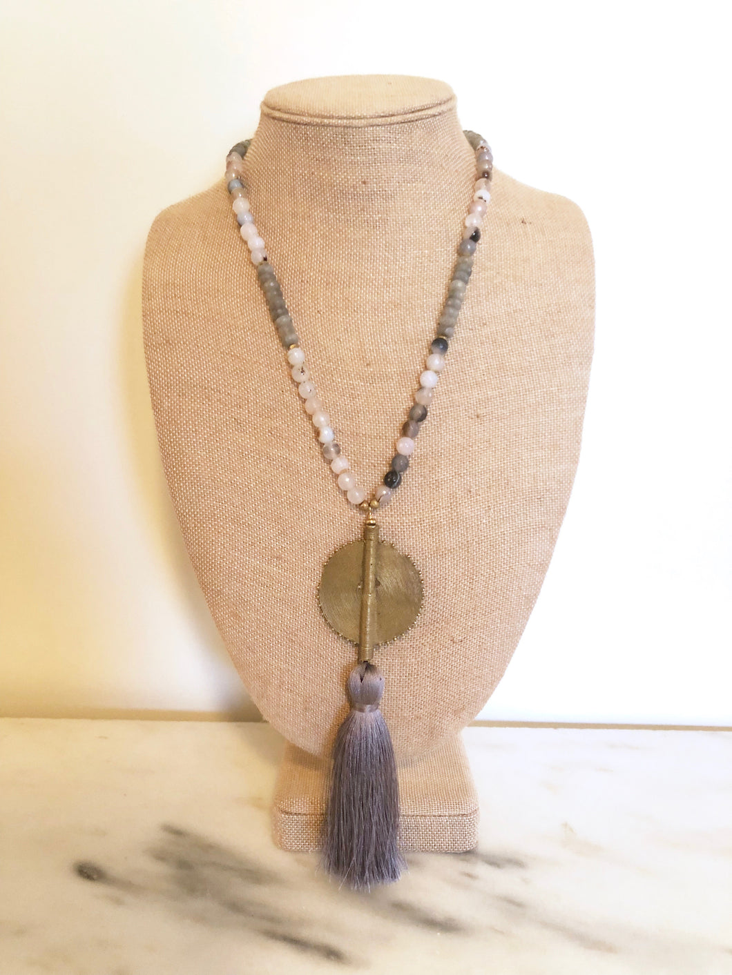 Gray Agate Beaded Necklace With Large Silky Tassel