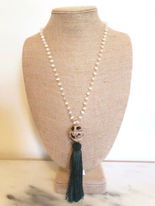 Opal Rosary Tassel Necklace