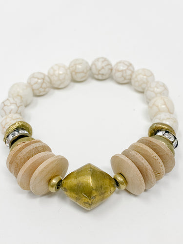 Cam Beaded Bracelet | Light Wood