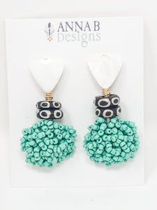 Poppy Beaded Earrings | Aqua