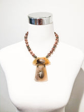 Agate Necklace with Horn Pendant