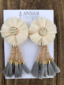 Raffia Flower Earrings- Ivory, Blush, Gray