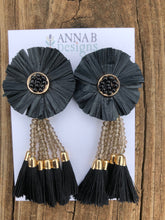 Raffia Flower Earrings- Black, gray, and black