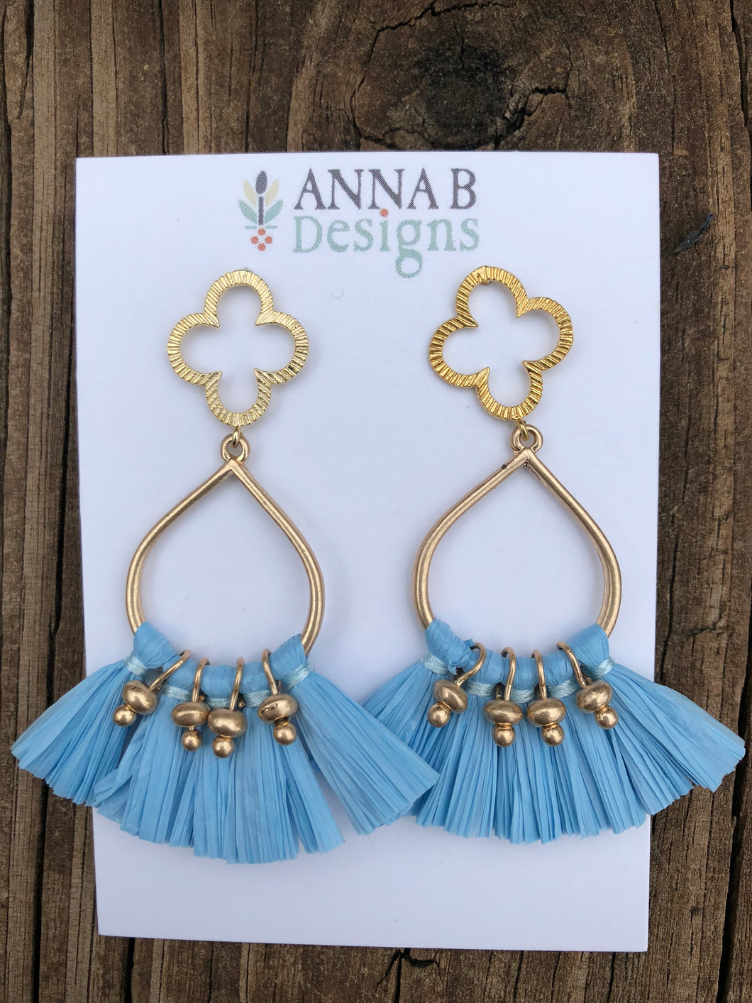 Quatrefoil + Raffia Earrings- Blue