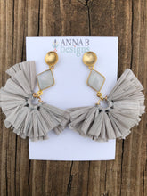 Raffia Fan Earrings- Gray