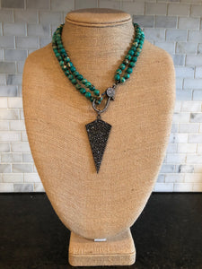 Green Knotted Necklace with Pavé Pendant