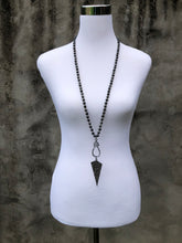 Gray Knotted Necklace with Pavé Pendant