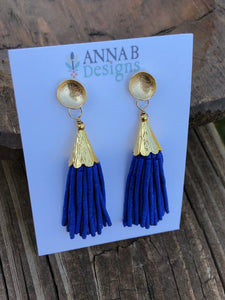 Beaded Tassel Earrings- Blue