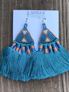 Beaded Silky Tassel Earrings- Teal