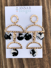 Betty Resin Earrings-Black and White