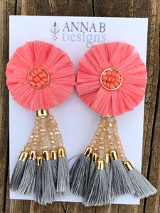 Raffia Flower Earrings- Pink, Blush, Gray